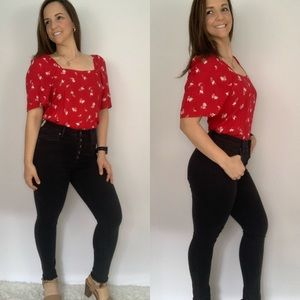 Red Floral Square Neckline Blouse